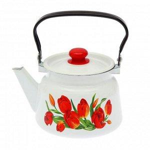Чайник «Тюльпаны» 2,3 л, эмалированная крышка, цвет белый