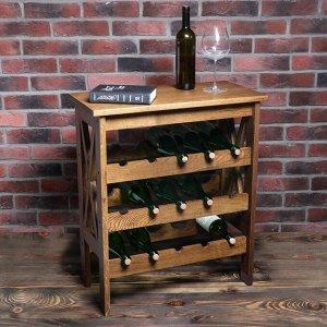"Стеллаж винный ""Прованс"". 15 бутылок. 70х64х32 см. массив дуба. темного ореха"