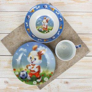 Набор детской посуды Доляна «Заяц футболист», 3 предмета: кружка 230 мл, миска 400 мл, тарелка 18 см