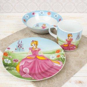 Набор детской посуды Доляна «Волшебница», 3 предмета: кружка 230 мл, миска 400 мл, тарелка 18 см