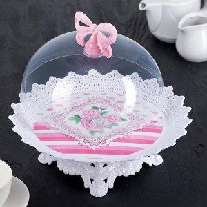 """Блюдо для торта и пирожных круглое с крышкой 30?21 см, d=18,5 см """"Бант"""", цвет МИКС"""