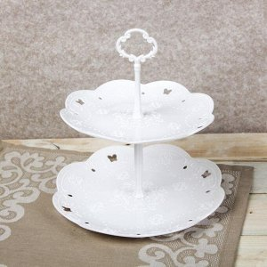 Блюдо 2-х ярусное круглое «Вивьен», d=21/26,5 см, цвет белый