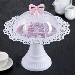"""Блюдо для торта и пирожных круглое с крышкой на ножке 32х32х33 см """"Бант"""", цвет МИКС"""