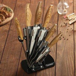 Набор кухонный на подставке, ножи 9 см, 13 см, 17 см, 19 см, 20 см, цвет коричневый