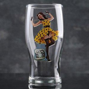 Набор бокалов для пива Рin-up Beer, 500 мл, 2 шт, рисунок МИКС