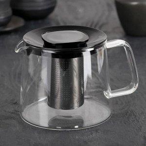 Чайник заварочный «Локи», с металлическим ситом, 1 л, цвет чёрный
