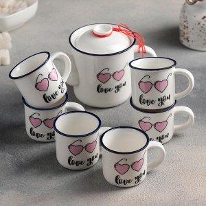 """Набор чайный """"Скучаю"""", 7 предметов: чайник 250 мл, 6 кружек 70 мл"""