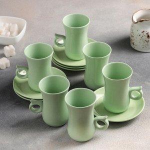 Сервиз чайный «Нюд», 12 предметов: чашка 200 мл, блюдце 11 см, цвет зелёный