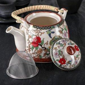 Чайник заварочный «Цветы», 900 мл, 17?14?12 см, с металлическим ситом