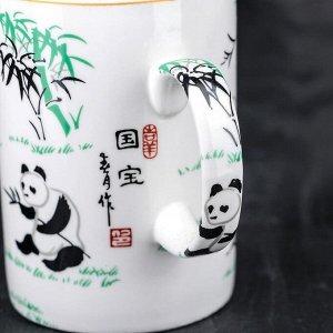Кружка «Панды», 300 мл, с крышкой и керамическим ситом