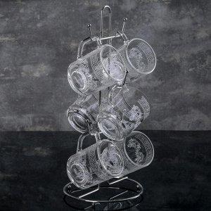 Набор кружек на подставке «Барокко», 200 мл, 6 шт