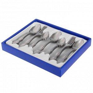 Набор столовых приборов «Тройка», 36 предметов, толщина 2 мм, декоративная коробка