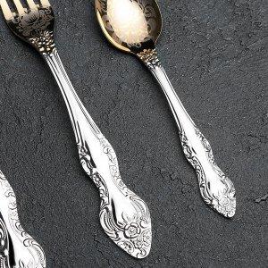 Набор столовых приборов «Тройка», 18 предметов, толщина 2 мм, художественная роспись по нитрид-титановому покрытию