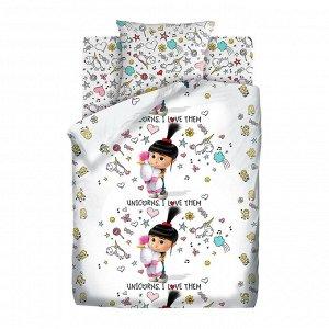 Комплект постельного белья  Миньоны - Агнес с единорогом 1,5 сп.