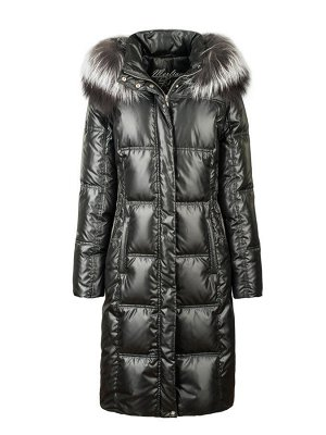 Пальто женское утеп. пух. ELIGAN (черный) чернобурка Черный