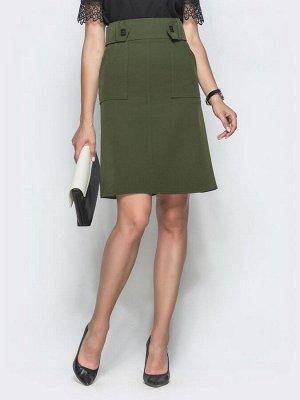 Юбка 45467 Лаконичная юбка прямого кроя с вместительными накладными карманами. Талия дополнена широким вшитым поясом с пуговицам. Застегивается на молнию сзади. Замеры изделия в 44 размере: длина по с