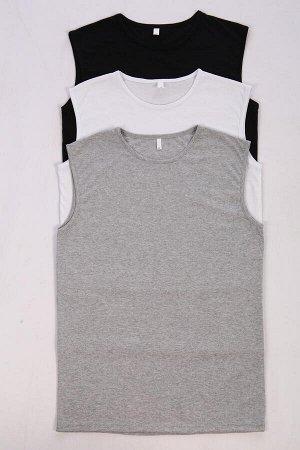 """Трио Набор маек """"Трио"""" (серая, белая и черная). Трикотаж - Кулирка. Хлопок 100%. Размеры 44 - 58 Цена указана за упаковку (3 единицы)."""