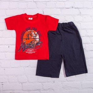 Шорты для мальчика + футболка, Nev York, красный с темно-синим