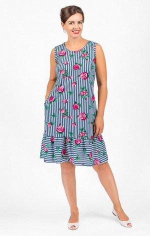 Платье трикотажное с карманами, розовые розы (573-3)