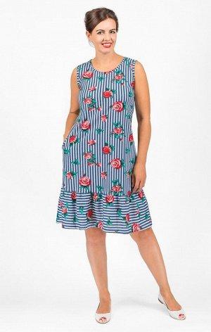 Платье трикотажное с карманами, красные розы (573-2)
