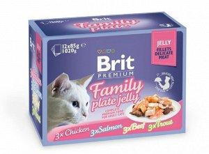 Brit Premium набор паучей д/кош Семейная тарелка/Желе 12*85гр (1/1)