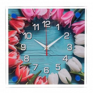 """Часы настенные. серия: Цветы. """"Бутоны"""". 25х25 см"""