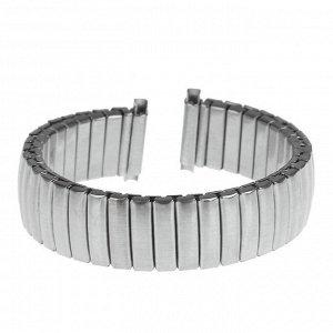 Ремешок для часов 14 мм, металл, протектор звенья объёмные, с широкой застежкой, хром