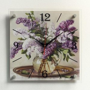 """Часы настенные, серия: Цветы, """"Сирень в вазе, на подносе"""", 35х35 см"""