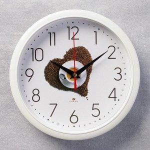 """Часы настенные круглые """"Кофе"""". 22х22 см микс"""