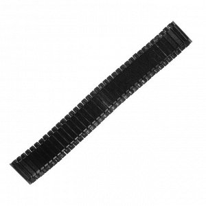 Ремешок для часов 20 мм, металл, протектор звенья объёмные, чёрный хром, 15.5 см