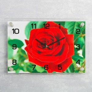 """Часы настенные, серия: Цветы, """"Красная роза"""", 25х35  см, микс"""