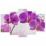 Часы настенные модульные «Фиолетовые орхидеи», 80 ? 140 см