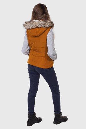 Женская куртка-жилет от Aeropostale (США). Трендовая молодежная модель с капюшоном, отороченным мехом. №836 ОСТАТКИ СЛАДКИ!!!!