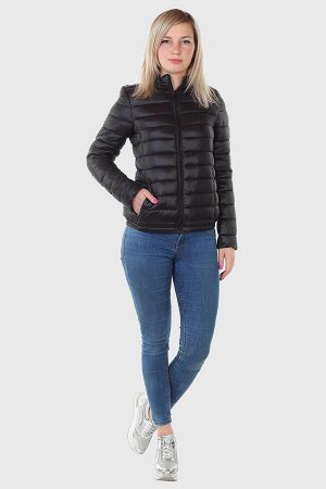 Чёрная женская куртка Fox – будет греть вплоть до откровенных холодов №515
