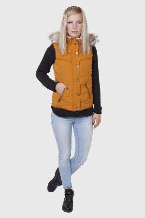 Стеганый женский жилет с капюшоном от Aeropostale (США). Стильная молодежная модель оранжевого цвета. №836 ОСТАТКИ СЛАДКИ!!!!