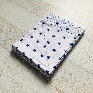 Пододеяльник полуторный комбинированный Белый, синий звездопад/Белый, синие звезды