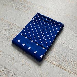 Пододеяльник полуторный комбинированный Тёмно синий, Звезда мелкая\Темно синий, звезда средняя