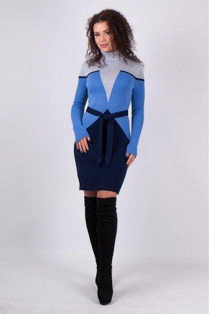 Теплое вязаное платье Корсет (серый, василек, синий)