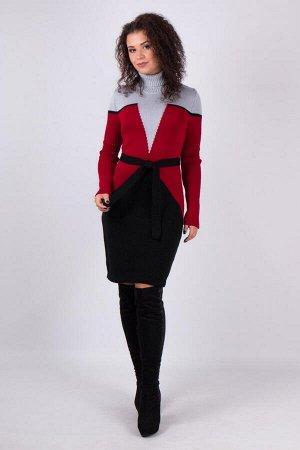 Теплое вязаное платье Корсет (серый, вишня, черный)
