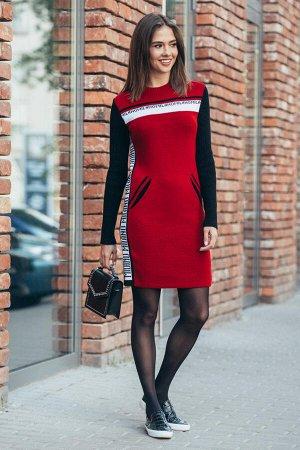 Платье-свитер Милана (вишня, белый, черный)