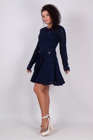 Ажурное вязаное платье Анжелика (синий)