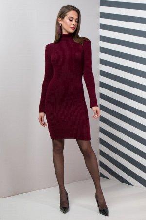 Теплое платье для офиса Basic (марсала)