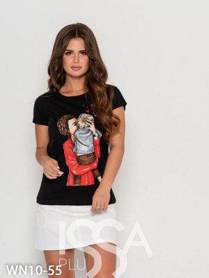 Черная хлопковая турецкая футболка на 46-48 размер