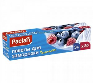 Пакеты д/замораживания, 3л 25х32см (с клипсами) 30шт