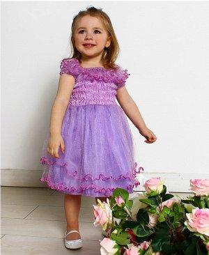 Сиреневое нарядное платье для девочки 28471-ПСДН16