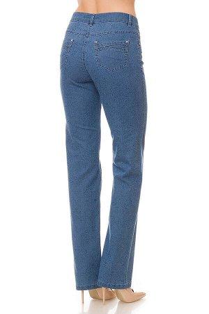 Слегка приуженные голубые с принтом джинсы S70521-2464-4 рр 9(44)
