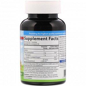 Carlson Labs, Детские жевательные таблетки с витамином D3, натуральные фруктовые ароматизаторы, 25 мкг (1000 МЕ), 60 шт.