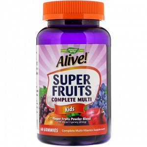 Nature&#x27 - s Way, Alive! Super Fruits Complete Multi, Kids, Pomegranate Cherry Flavor, 60 Gummies