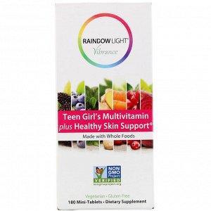 Rainbow Light, Vibrance, мультивитамины для девочек-подростков, способствуют здоровью кожи, 180 мини-таблеток