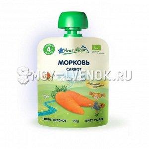 Флёр Альпин - пюре Органик морковь (пауч), 4 мес.,90 гр.